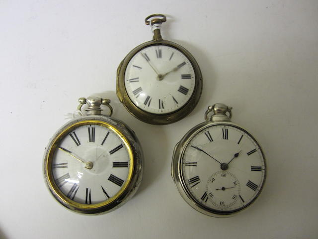 A George IV silver pair cased, verge stop pocket watchby B.Lewis of Liverpool, Birmingham 1824 (3)