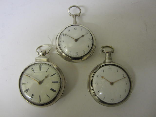 A George III silver pair cased, verge pocket watchby Edward Wilkins of Liverpool, London 1793 (3)
