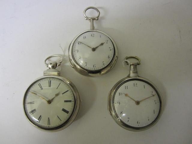 A George III silver pair cased, verge pocket watchby Edward Wilkins of Liverpool, London 1793 (3)