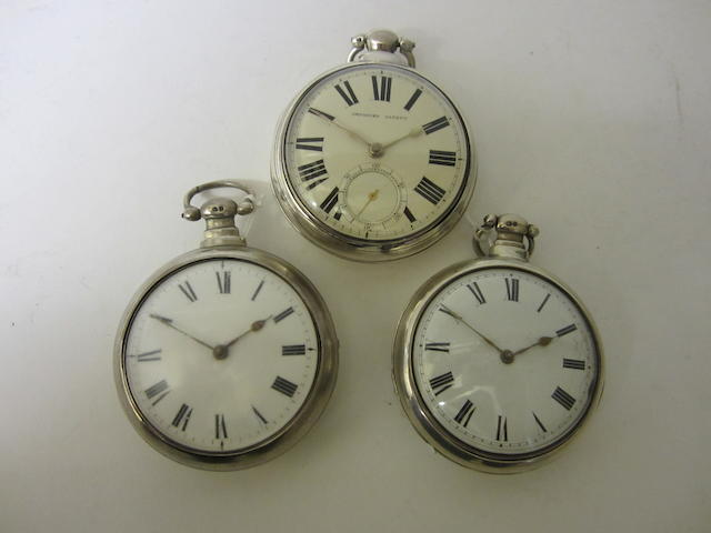 A Victorian silver pair cased, English lever fusee pocket watchunsigned, numbered 2511, London 1862, (3)
