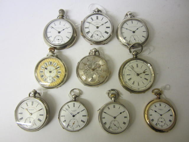 A nickle keyless wound, open face pocket watchunsigned (10)
