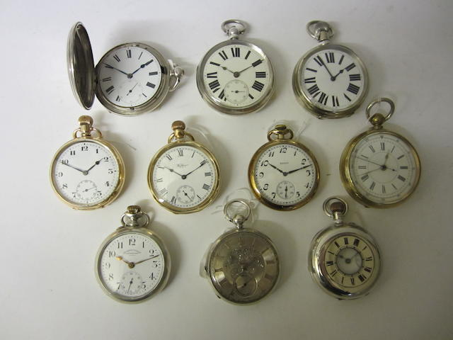 Baume, Longines: A nickle keyless wound, open face pocket watch(10)