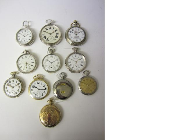 Hamilton: A gold plated keyless wound, open face pocket watchc 1942 (11)