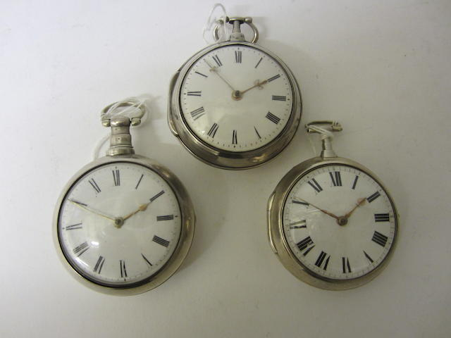 A George III silver pair cased, verge pocket watchby George Plummer, London 1802, (3)