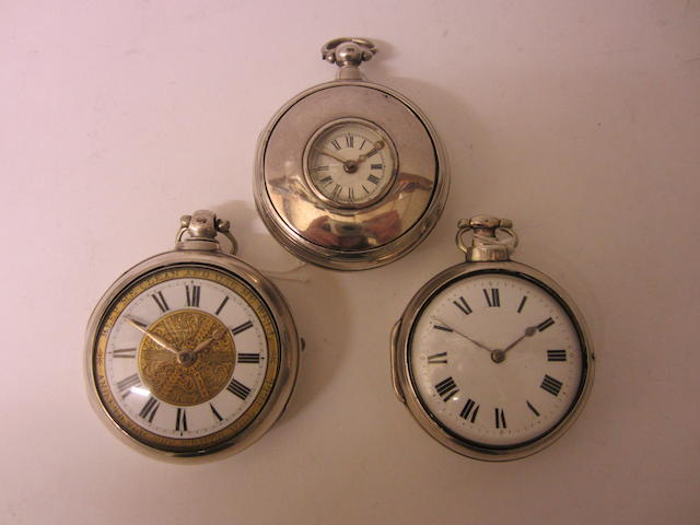 A Victorian silver pair cased, half hunter, verge pocket watchby William Phillips of Ludlow, London 1845 (3)