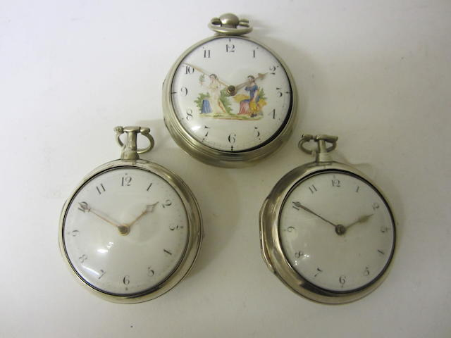 A George IV silver pair cased, verge pocket watchby J.Bradford of Liverpool, Birmingham 1820 (3)