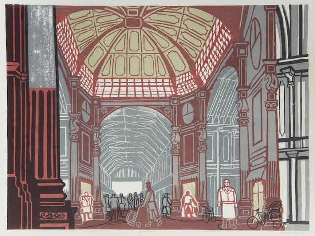 Edward Bawden R.A. (British, 1903-1989) Leadenhall Market, from London Markets (MG.82) Lithograph printed in colours, 1967, on wove, signed, titled and numbered 17/75 in pencil, published by Curwen Press, London, 455 x 612mm (18 x 24in)(B)