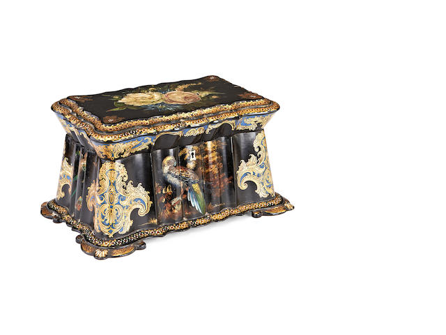 A Victorian painted and gilt decorated papier maché casket