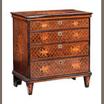 A Dutch 18th century walnut and marquetry inlaid chest of drawers