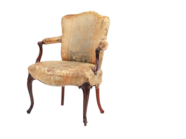 A George III mahogany open armchairpossibly Scottish