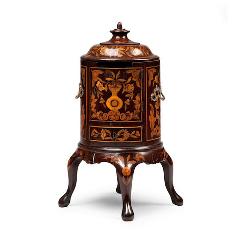 A rare early 19th century Dutch marquetry theestoof, (tea stand) converted to a letter box