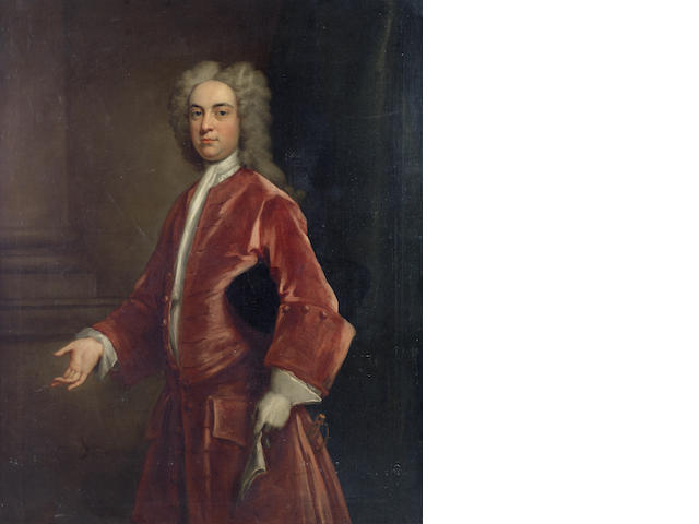 John Vanderbank (London 1694-1739) Portrait of a gentleman, three-quarter-length, in a red coat, standing