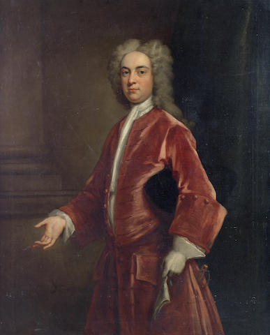 John Vanderbank (London 1694-1739) Portrait of a gentleman, three-quarter-length, in a red coat, standing
