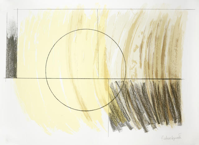 Dame Barbara Hepworth (British, 1903-1975) Moon Landscape Lithograph printed in colours, 1973, on TH Saunders, signed and numbered 62/90 in pencil, from the Penwith Portfolio, printed by Curwen Studio, published by Penwith Galleries Ltd, 565 x 775mm (22 1/4 x 30 1/2in)(SH)  unframed