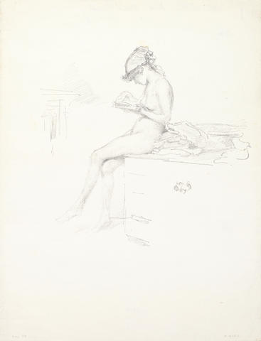 James Abbott McNeill Whistler (American, 1834-1903) The Little Nude Model, Reading Lithograph, 1889-90, on laid, with the printed butterfly monogram, most likely one of 55 posthumous impressions printed by Goulding in 1904, 167 x 179mm (6 5/8 x 7in)(I); 290 x 222mm (11 3/8 x 8 3/4in)(SH)