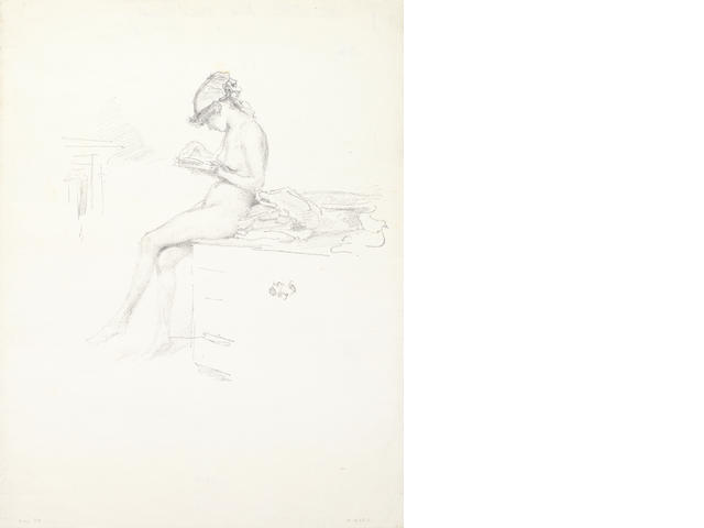 James Abbott McNeill Whistler (American, 1834-1903) The Little Nude Model, Reading Lithograph, 1889-90, on transfer paper, with the printed butterfly posthumous edition of 55,  167 x 179mm (I)  one of the 55 posthumous impression from 1904 by Goulding
