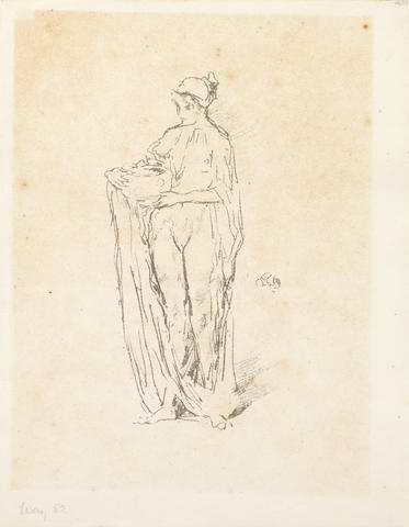 James Abbott McNeill Whistler (1834-1903) Girl with Bowl (S.S.T. 118; Way 82) lithograph in grey ink, on laid, most likely from the posthumous edition of 45 printed by Goulding in 1904,(there was also an edition of 600 printed by Lemercier for L'Ymagier 2, no.5 in 1895), with Rosalind Birnie Philip's round rubber stamp verso, (sheet 20.2 x 16 cm).