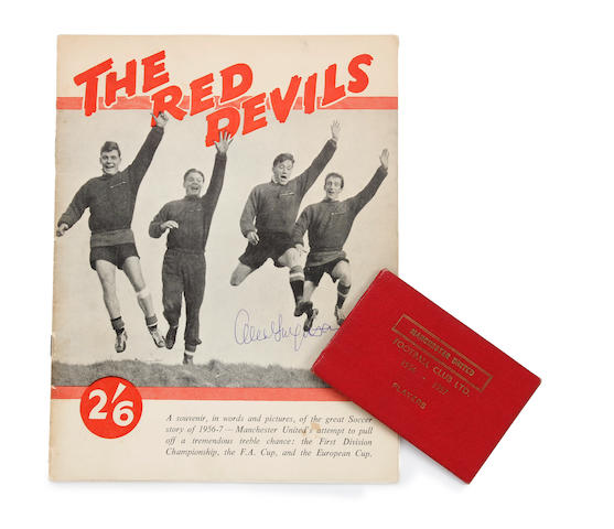 Busby Babes 'The Red Devils' full team hand signed souvenir booklet and players rules