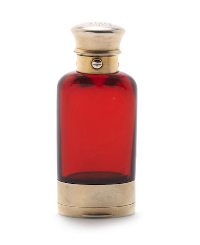 An 1871  London silver gilt and cranberry-coloured glass doubled ended scent bottle and vinaigrette by Sampson Morden & Co London 1871; together with a quantity of other items  (16)
