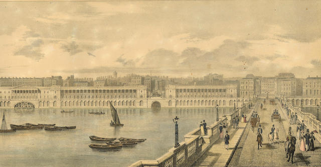 LONDON Lithographic Sketch of the North Bank of the Thames, from Westminster Bridge to London Bridge, Shewing the Proposed Quay, and Some Other Improvements Suggested, 1825