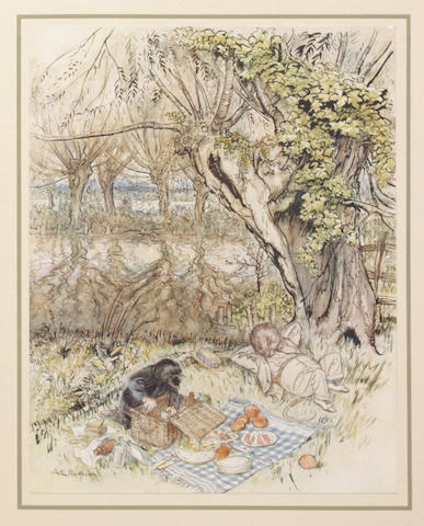 RACKHAM (ARTHUR) GRAHAME (KENNETH) The Wind in the Willows... With an Introduction by A.A. Milne & Illustrations by Arthur Rackham, NUMBER 1103 OF 2020, SIGNED BY THE DESIGNER BRUCE ROGERS, New York, The Limited Editions Club, 1940