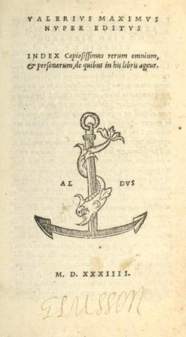 ALDINE PRESS VALERIUS MAXIMUS (GAIUS) [Opera] Nuper Editus, 1534