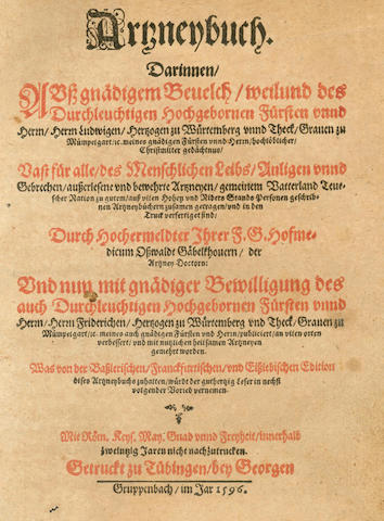GÄBELKOVER (OSWALD) Artzneybuch, 5 parts in one vol., Tubingen, 1596