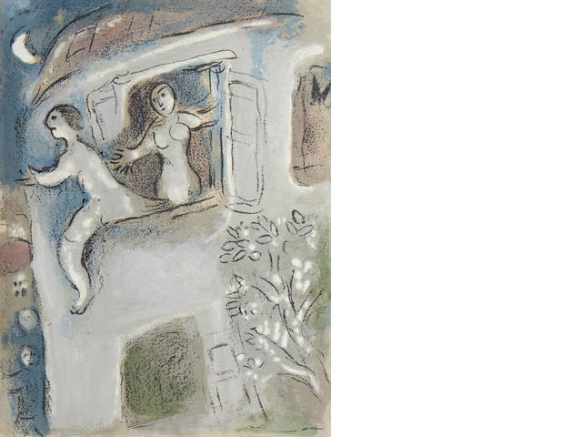 Marc Chagall (Russian/French, 1887-1985) Four Plates, from Drawings for the Bible Two lithographs in colours and two lithographs in black on the reverse of the sheet as issued, 1960, on one sheet of wove, a proof without the middlefold, aside from the published edition of Verve, nos. 37-38, 375 x 565mm (14 3/4 x 22 1/4in)(SH)(unframed)(4)