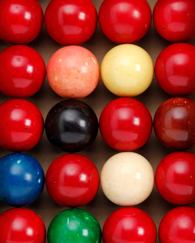 A complete set of Ivory snooker balls