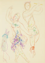 Marc Chagall (Russian/French, 1887-1985) The Ballet book The volume, 1969, comprising one lithogaph printed in colours, printed by Fernand Mourlot, and numerous reproductions after drawings and watercolours, with text in English by Jacques Lassaigne, published by Tudor Publishing Co., New York, 360 x 270mm (14 1/8 x 10 5/8in); together with Chagall, The Biblical Message book, 1972, comprising one lithograph in colours (M.689), with text in German. 2 vol