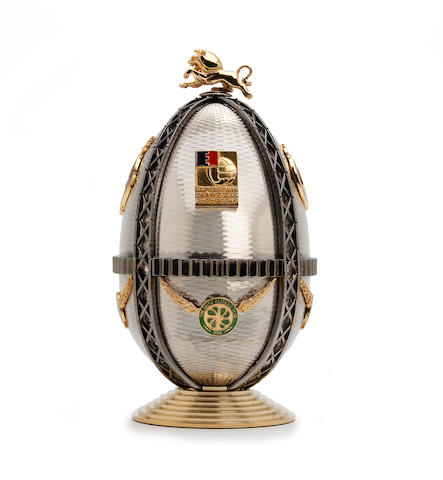 A Theo Faberge limited edition number 7 Jimmy Johnstone egg