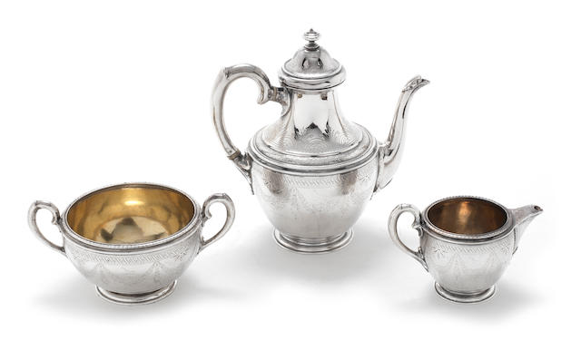 A three-piece  silver tea service  by Robert Garrard, London 1870  (3)