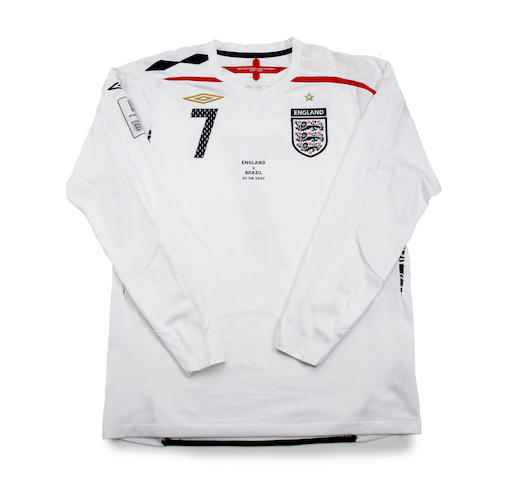 2007 David Beckham match worn England shirt