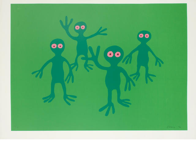 Nicholas Monro (British, 1936) A Collection Nine screenprints in colours, c.1970, including 'Green Figures', 'Girl at a window', 'Hedges', 'Figure with crosses', 'Craters', 'The Flood', 'Hospital', 'Igloos', 'Dancers',each on wove, each signed, dated and variously numbered from the edition of 75 in pencil, each with margins, various sizes (9) (unframed)