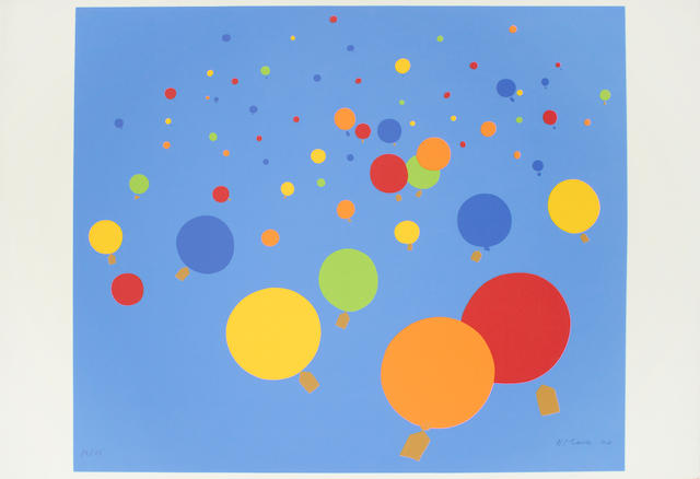 Nicholas Monro (British, 1936) A Collection Ten screenprints in colours, c.1970, including 'Balloon Race', 'Hooded Figures', 'Kangaroos', 'Cosmic Consciousness', 'Animals Running through the fire', 'Operating Theatre', 'Stone Circle', Lobby', 'Boats' and 'Estuary', each on wove, each signed, dated and variously numbered from the edition of 75, each with margins, various sizes (10) (unframed)