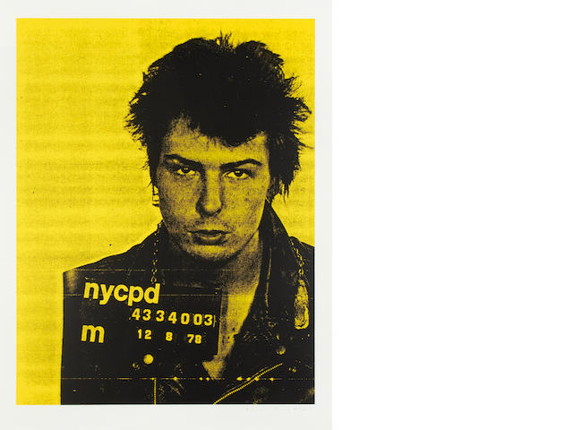 Russell Young (British, born 1960) Sid Vicious, from Mugshot Series  Screenprint in colours, 2006, on wove, signed and inscribed 'AP 9/10' in pencil, a proof aside from the edition of 50, published by Bankrobber Gallery, London, with full margins, 953 x 733mm (37 1/2 x 28 7/8in)(I)