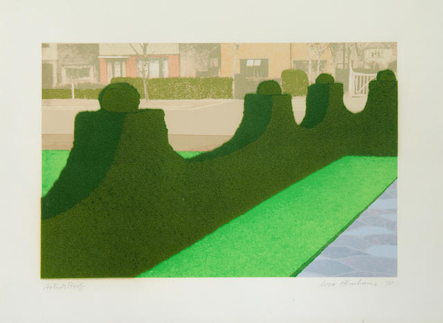Ivor Abrahams RA (British, born 1935) Hedge and Street & Flower Garden, from Privacy Plots Two screenprints with flock fibre, 1970, each on wove, each signed, dated and inscribed 'artist's proof' in pencil, with full margins, each 560 x 770mm (22 x 30 3/8in)(SH) 2 unframed
