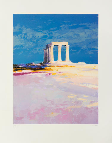Donald Hamilton Fraser RA (British, 1929-2009) The Temple of Apollo Screenprint in colours, 1996, on wove, signed and inscribed 'P.P. 3/5' in pencil, a printer's proof, 560 x 435mm (22 x 17 1/8in)(I); together three others by the same hand, 'Harbour Steps', 'Kintyre' and 'Southerland', each on wove, each signed and inscribed 'P.P.' in pencil, the full sheets. 4 unframed