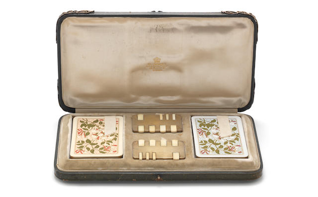 "A Victorian cased silver and ivory ""Tom Thumb"" whist marker set the whist maker's by John Millward Banks, London 1897"