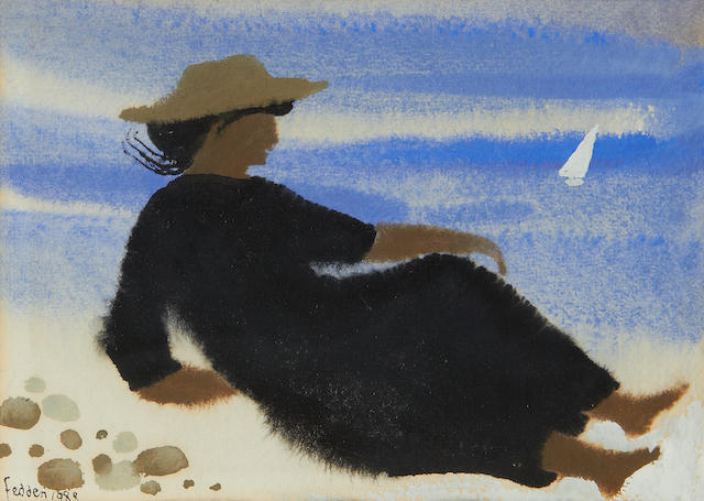 Mary Fedden R.A. (British, 1915-2012) Reclining female on the beach
