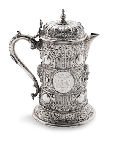 A Victorian silver presentation flagon, by Martin Hall & Co