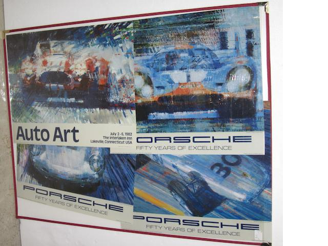 Four Automobile Art exhibition posters,