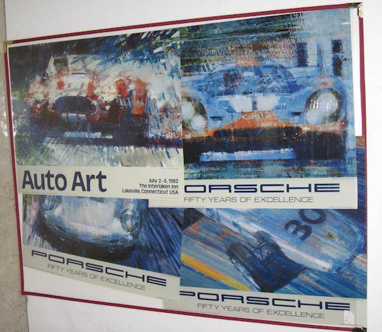 Four Automobile Art exhibition posters,