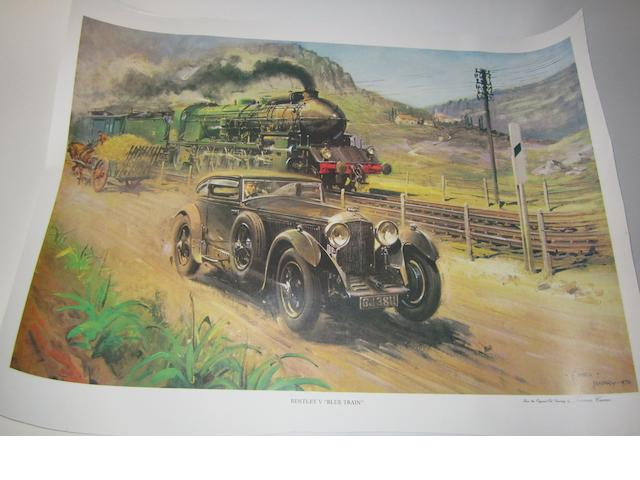 Assorted motoring posters and prints,