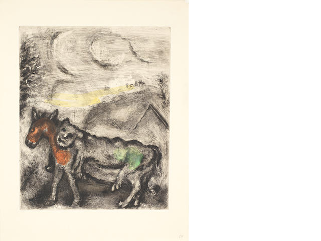 Marc Chagall (Russian/French, 1887-1985) Les Fables - Jean de La Fontaine - Donkey dressed in skin of a lion Etching with hand colouring, 1952, an unsigned impression from the total edition of 200, on BFK Rives, printed by Maurice Potin, Paris, published by Tériade Éditeur, Paris, 295 x 240mm (11 5/8 x 9 1/2in)(PL) unframed