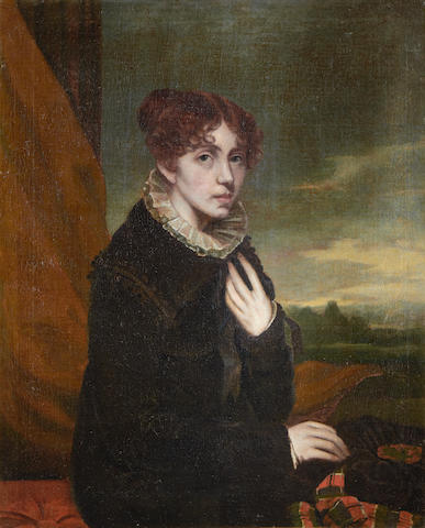 Scottish School, (early 19th Century) Portrait of a lady holding a hat