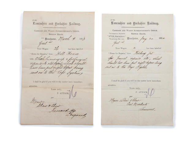 1893,1894 Lancashire and Yorkshire Railway notes hand signed by Fred Attock - Newton Heath