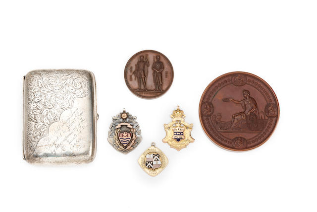 A collection of sporting medals and cigarette case awarded to P.Rae
