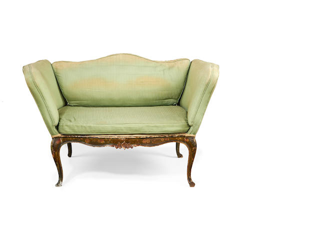 A Venetian late 19th century green japanned and polychrome decorated small sofa in the Rococo revival style