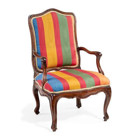 An Italian mid 18th century walnut armchair
